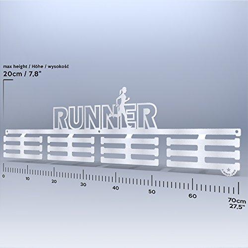 Wall Of Fame Runner für Sie - Edelstahl Medaillenhanger Medaille Aufhänger Medal Hanger Display Geschenk (70 cm/Satin) - Aufhänger Race-medaille