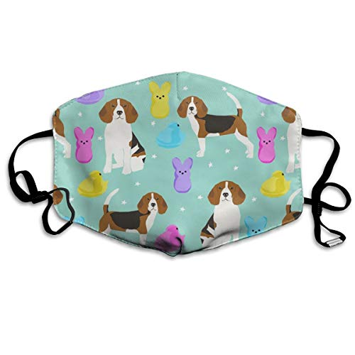 Beagle Ostern Frühling Marshmallow Leckerlis Hund Rasse Haustier Minze Anti-Staub Maske Anti-Verschmutzung waschbar Wiederverwendbar Mundmaske -
