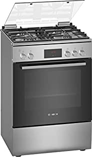 Bosch Serie | 4, 60X60 cm 4 Gas Burners Free standing Gas cooker, Stainless steel - HGB320E50M, 1 Year Warrant