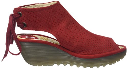 Fly London Ypul799fly, Sandales Bout Ouvert Femme Rouge (Lipstick Red)