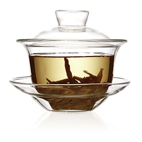 The Tea Makers of London Tasse chinoise à couvercle Gaiwan- En verre transparent 200 ml