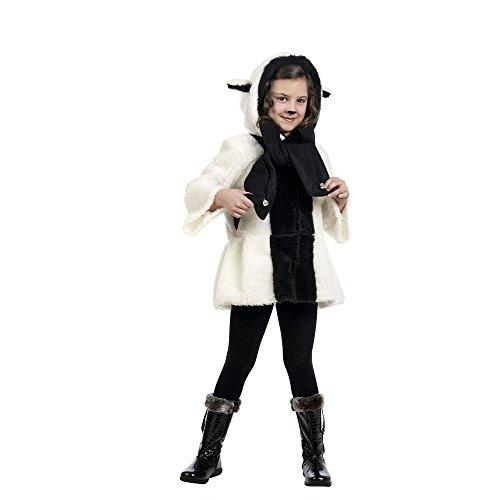 Schäfchen Lämmchen Kostüm Kinder 2-teilig Mantel und Schal zum Karneval - 5/7 (Kostüm Schäfchen)