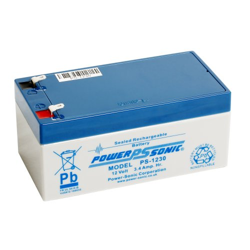 Powersonic Power Sonic PS1230 12V 3.4Ah AGM Battery - Suitable For Response Alarm, Burglar Alarm, Security Alarm, Fire Alarm, Solar Alarm amp; Bell