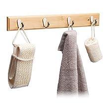Relaxdays Bamboo Wall Hook Bar, Natural Grain, Metal Hooks, Hallway Coat Rack, Towel Holder, 4 Hooks, HWD: 6x48.5x5cm, Natural