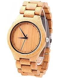 Unisex de madera reloj colorido bambú reloj con correa de piel analógico de cuarzo con calidad Japón movimiento