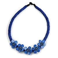 Avalaya Blue Glass Bead with Shell Floral Motif Necklace - 48cm Long