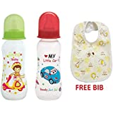 Mee Mee Premium Baby Feeding Bottle, 250ml (3M+) Pack Of 2 (Green & Red) And Baby Bib Free