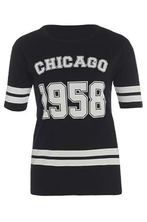 New Womens Chicago 1958 Print Baseball Style T-Shirt Top Ladies Size Black M/L