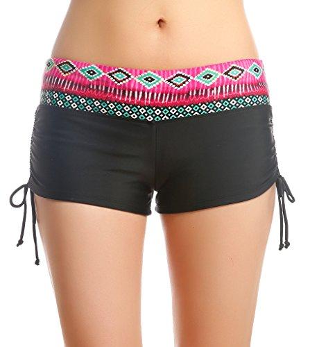 Bikinihose Damen UV Shutz Badeshorts mit Blumen Taillenbund Schwimmshorts Wassersport Hose Schwarz mit Rot,Größe XL -