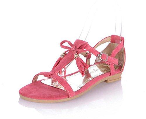 DONNE Peep Toe Sandali Bow Tie Tassel Scarpe Matte PU Big Size Sandali Donna Femmina 2017 Nuovo Pink