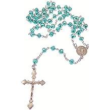 Oscuro verde iridiscente cristal facetado rosario San Benito de cadena de plata 45cm