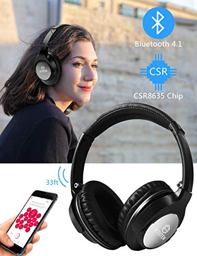 Bluetooth Over-Ear Kopfhörer - Atuten Kabellos Faltbare Ohrhörer Stereo Gaming Headphone mit Mikrofon für Alle Geräte mit Bluetooth/3.5mm Klinkenstecker - Kompatibel mit IOS Android - 2