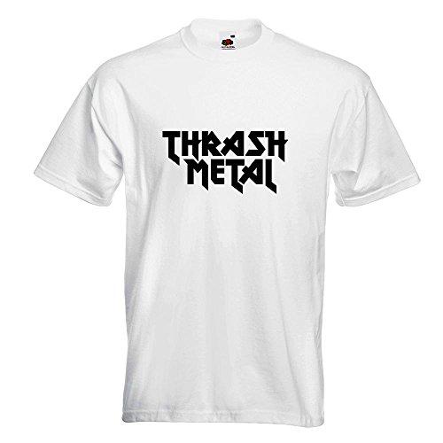 KIWISTAR - Thrash Metal Hardcore Heavy Death Guitar T-Shirt in 15 verschiedenen Farben - Herren Funshirt bedruckt Design Sprüche Spruch Motive Oberteil Baumwolle Print Größe S M L XL XXL Weiß