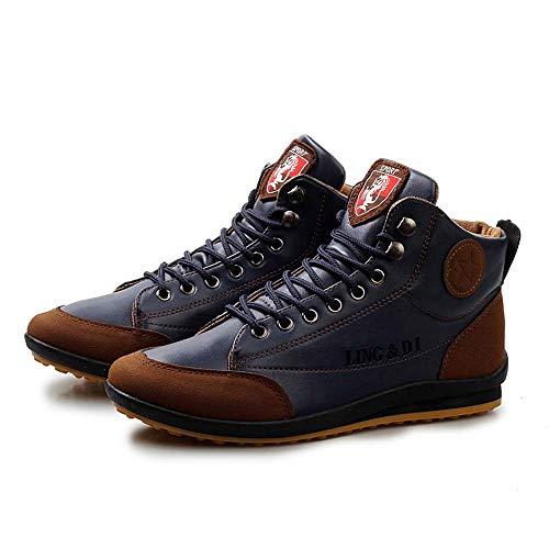 Schuhe Herren Sportschuhe Sneaker Running Wanderschuhe Outdoorschuhe Männer Winter warme Stiefel Freizeitschuhe Mode Plüsch Schneeschuhe (43, Dunkelblau)