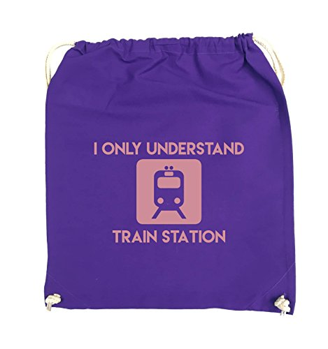 Comedy Bags - I ONLY UNDERSTAND TRAIN STATION - Turnbeutel - 37x46cm - Farbe: Schwarz / Silber Lila / Rosa