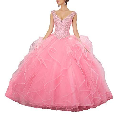 Damen V-Ausschnitt Quinceanera Kleider Spitze Abendkleider Ballkleid Elegant für Hochzeit Lang Rüschen Festzug Kleider Partykleider Pink EUR44 Quinceanera Kleid