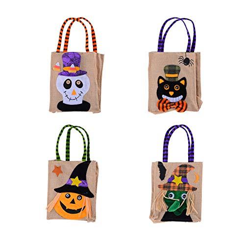 KESOTO 4 Stück Halloween Candy Tüten Kinder Süßigkeiten Bag Tasche Geschenkbeutel, 18 x 15 cm