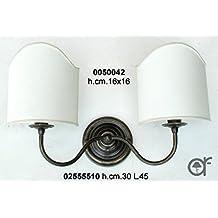 Applique Lampe murale Liberty en laiton avec ventilateurs à Parchemin deux lumières