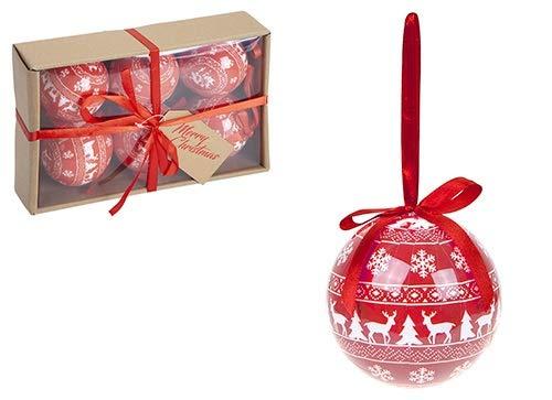 Toyland Packung mit 6-80 mm Metallic Rot & Weiß Polyfoam im nordischen Stil, verziert mit Christbaumkugeln