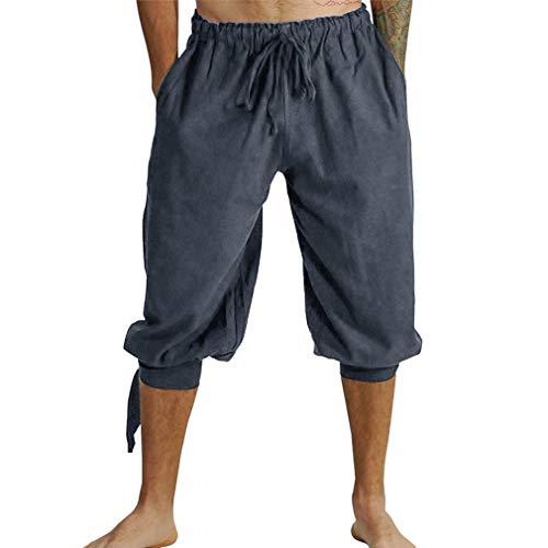 MEIHAOWEI Pirat Wikinger Renaissance Bein Bandage Lose Hose Halloween Kostüme für Männer Erwachsene Hosen Männer Mittelalter Hosen Cosplay Kostüm