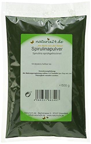 Naturix24 Spirulina, Spirulinapulver rein – Beutel, 1er Pack (1 x 500 g)
