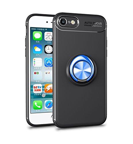 iPhone 6S Hülle , iPhone 6 Handyhülle mit Ring Kickstand - Mosoris Premium Silikon Shell mit 360 Grad Drehbarer Ständer und Handyhalterung Auto Magnet Ring , Stoßfest Rüstung Schutzhülle Bumper Tasche Case Cover für iPhone 6 / 6S,Schwarz + Blau