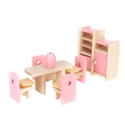 Dollhouse Dining Room Wooden Furniture Set Table+Chair+Display Unit+Vase produced by BeautyLife - quick delivery from UK.