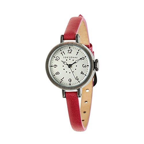 tokyobay-t2033-rd-womens-stainless-red-leather-band-white-dial-round-watch