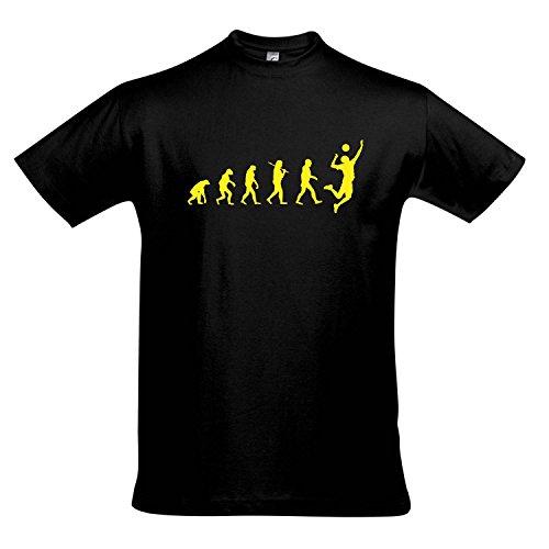 T-Shirt - EVOLUTION - Volleyball Sport FUN KULT SHIRT S-XXL , Deep black - gelb , L (Volleyball T-shirt Gelbes)