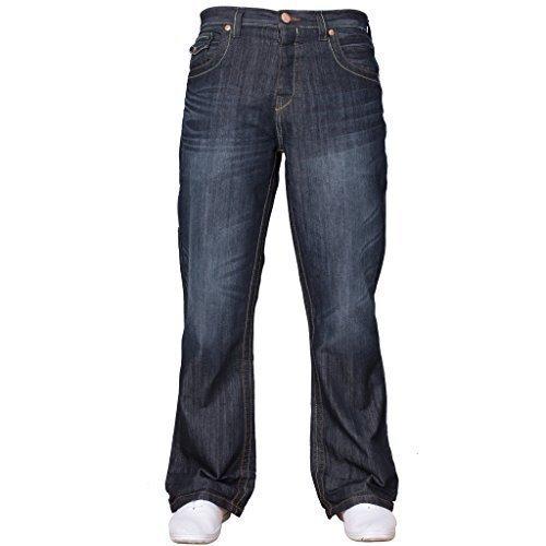 Bootcut Weites Bein Jeans (APT Herren einfach blau Bootcut weites Bein ausgestellt Works Freizeit Jeans Große Größen in 3 Farben erhältlich - Dunkle Waschung, 36W x 34L)