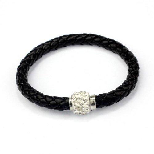 Armband Damen Armbänder DAY.LIN 1PC Armband Magnetische Strass Schnalle Leder Wrap Armband Armreif (B) (Bustier Leder Schnalle)