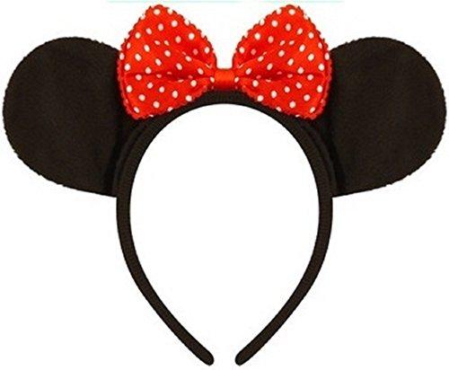 Damen Herren Mickey oder Minnie Mouse Ohren Stirnband Kostüm Kleid Outfit Zubehör - Minnie, One size, Einheitsgröße