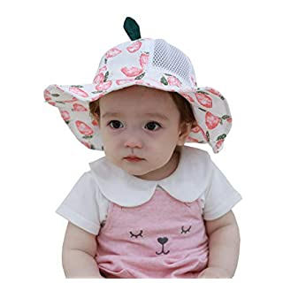AOOPOO Baby Toddler Kids Breathable Cotton Bucket Sun-Hat 50 UPF, Adjustable for Growth, Stay-on,Mesh Hollow Pink