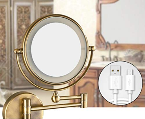 HONGLI Make-up-Spiegel, beleuchtet, LED, Badezimmer-Wand, wiederaufladbar, zusammenklappbar, ausziehbar 8 Inch Bronze [Brass Material] (Bronze-beleuchtete Make-up-spiegel)