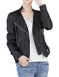 Smile YKK Fashion Mujer Piel sintética abrigo de solapa Locomotora Chaqueta Outwear