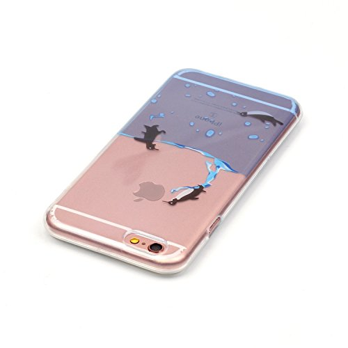 Custodia per iPhone 6 Plus / iPhone 6S Plus, Hancda Morbido TPU Cover Silicone Flessibile Trasparente Custodia con Disegni Colorate Protettiva Case Ultra Sottile Gomma Morbida Caso Cover per iPhone 6  Pinguino