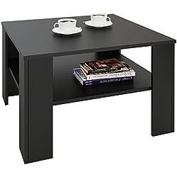IDIMEX Table Basse SEJOUR, Table de Salon de Forme carrée avec 1 étagère Espace de Rangement Ouvert, en mélaminé Noir Mat