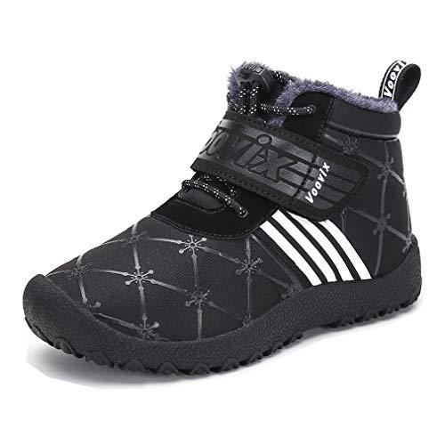 ComfyShopy Kinder Winterschuhe Jungen Mädchen Schneeschuhe warme Stiefel Outdoor Turnschuhe Kind Rutschfeste Wasserdichte Booties Schwarz/Weiß33