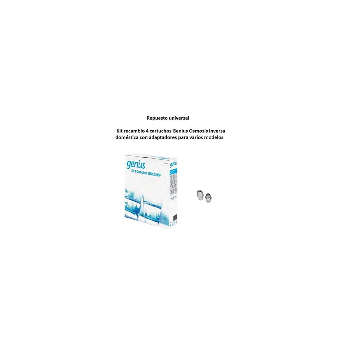 41FVsrtQdnL. SS1200  - Repuesto universal Kit recambio 4 cartuchos Genius Osmosis Inversa doméstica con adaptadores para varios modelos