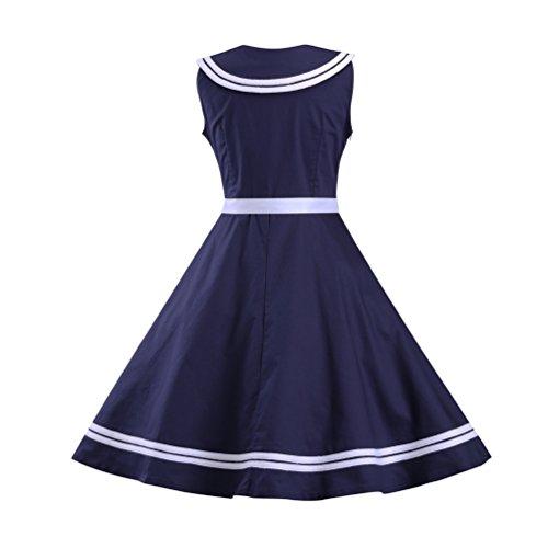 MILEEO Retro Dresses Women Vintage 50s/60s Spaghetti Straps Sleeveless Evening Dresses Printing Women Rockabilly Navy