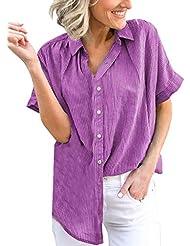 Blusa de Manga Corta con Estampado de Raya de Solapa para Mujer Talla Grande Blusa Suelta