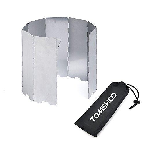 TOMSHOO Parabrisas Plegable de 8 Placas Estufa de Gas Cortaviento de Aluminio de Aleación para Camping Picnic al Aire Libre
