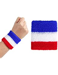 Lot de 2 Poignet de tennis bracelet éponge (Alsino 00/0763) tricolore supporter France bleu blanc rouge accessoire homme femme fille garçon enfant adulte fan foot stade ambiance animation soirée sport