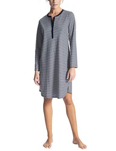 Calida Damen Soft Jersey Fun Lang Pyjama, Blau (Peacoat Blue 488), 36 (Herstellergröße: XS) Peacoat