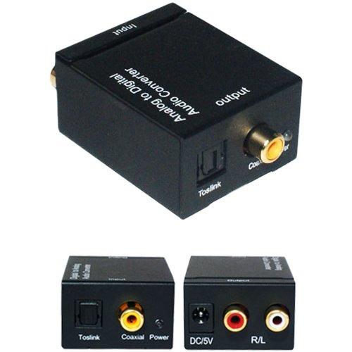2RCA Analog auf Digital Koaxial/Optisch auf Audio Kabel Adapter Cinch Digital Koaxial Rca