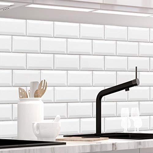 StickerProfis Küchenrückwand selbstklebend Premium Weisse KACHELN 1.5mm, Versteift, alle Untergründe, Hartschicht, 60 x 400cm