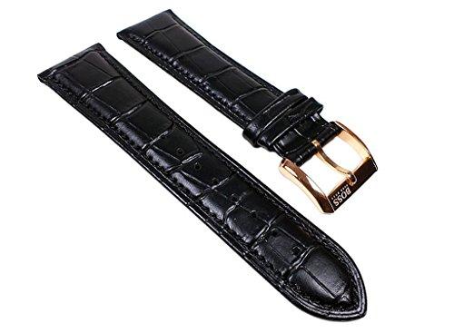 Hugo Boss Uhrenarmband Leder Band schwarz 22mm für 1512655