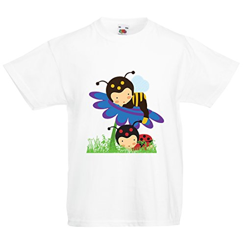 Printmeashirt  Jungen T-Shirt Weiß Weiß (Bumble Bee Outfit Für Baby)