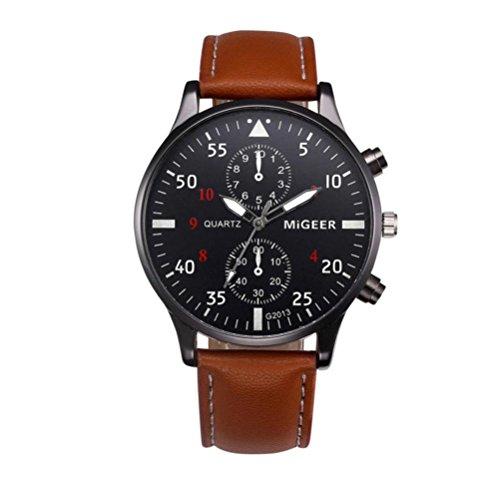Herren Uhren 2018 Collection Klassische Design Lederband Analoge Legierung Maschinen Quarz Armbanduhren Männer Gentleman Schwar/Blau/Braun (Standard, Blau)
