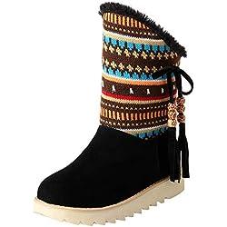 Sunnyuk Botas de Mujer, Moda Mujer Cálido Invierno Retro Tassel Folk customThick Bottom Botas para la Nieve Zapatos de Punta Redonda